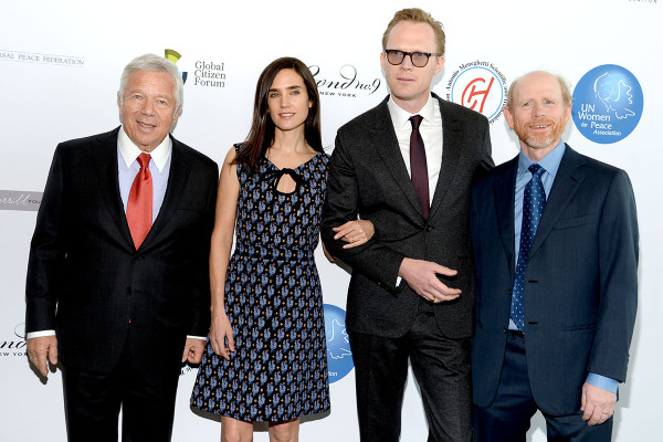 Robert Kraft, Jennifer Connelly, Paul Bettany, Ron Howard== UN Women for Peace 2015 March In March Awards Luncheon== United Nations Headquarters, NYC== March 6, 2015== ©Patrick McMullan== Photo - Clint Spaulding/PatrickMcMullan.com== ==