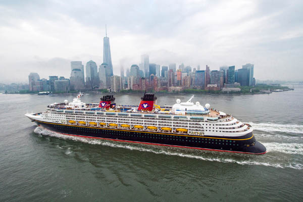 NEW YORK (May 18, 2015) – Today, the Disney Magic arrived in New York City as part of a transatlantic crossing to kick off a summer season in Norway and Europe. Disney Cruise Line was in New York City to announce the Disney Magic will return to New York in fall 2016, with sailings visiting the Bahamas, Disney's private island Castaway Cay and stops at Port Canaveral that include a visit to Walt Disney World. (Chloe Rice, photographer)