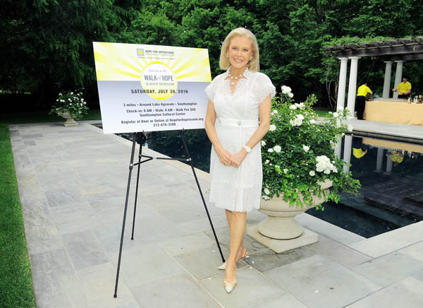 Audrey Gruss==Hope for Depression Research Foundation Founder & President Audrey Gruss Hosts Kick Off Party for Walk of Hope==Fairwind, Southampton, NY==July 16, 2016==©Patrick McMullan==Photo - Owen Hoffmann/PMC== == Audrey Gruss