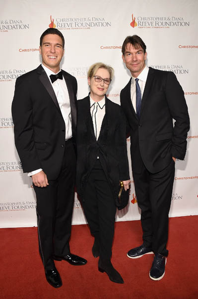 "NEW YORK, NY - NOVEMBER 17: (L-R) Actors Will Reeve, Meryl Streep, and Jerry O'Connell attend the Christopher & Dana Reeve Foundation hosts ""A Magical Evening"" at Cipriani Wall Street on November 17, 2016 in New York City. (Photo by Bryan Bedder/Getty Images for The Christopher & Dana Reeve Foundation) *** Local Caption *** Will Reeve;Meryl Streep;Jerry O'Connell"
