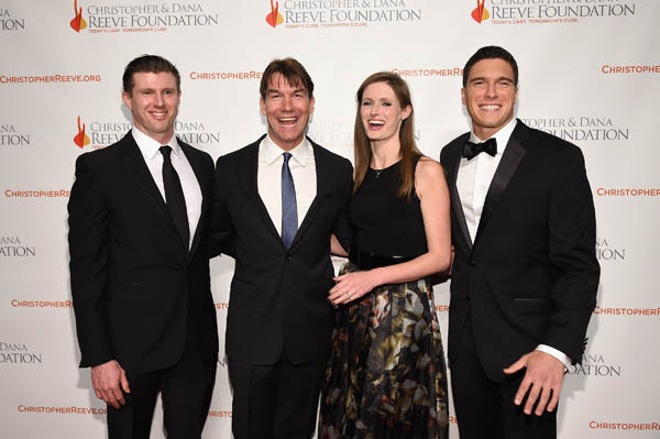 "NEW YORK, NY - NOVEMBER 17: (L-R) Matthew Reeve, Jerry O'Connell, Alexandra Reeve Givens, and Will Reeve attend the Christopher & Dana Reeve Foundation hosts ""A Magical Evening"" at Cipriani Wall Street on November 17, 2016 in New York City. (Photo by Bryan Bedder/Getty Images for The Christopher & Dana Reeve Foundation) *** Local Caption *** Matthew Reeve;Jerry O'Connell;Alexandra Reeve Givens;Will Reeve"