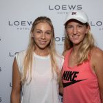 "TENNIS STARS VICTORIA ""VIKA"" AZARENKA AND AMANDA ANISIMOVA WARM UP FOR U.S. OPEN AT LOEWS REGENCY NEW YORK HOTEL"